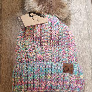 Pink Chunky Knit Pom Pom Beanie